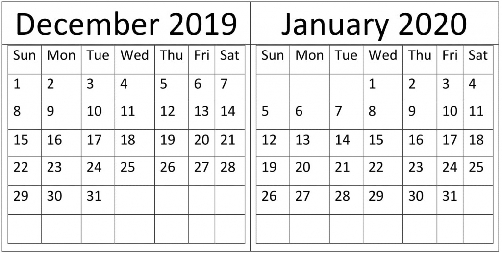 december january 2020 calendar holidays template free calendar december and january