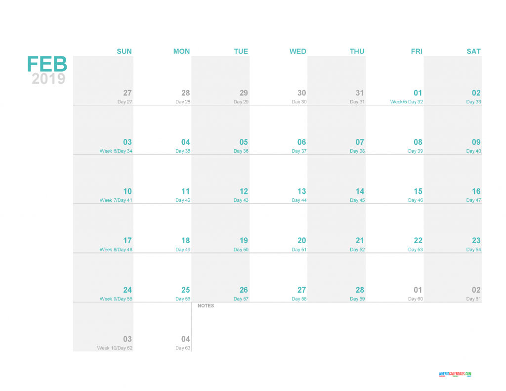 february 2019 printable monthly calendar template with day calander with day count