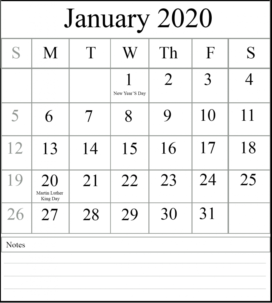 free january 2020 printable calendar template with holidays word of the day calendar 2020