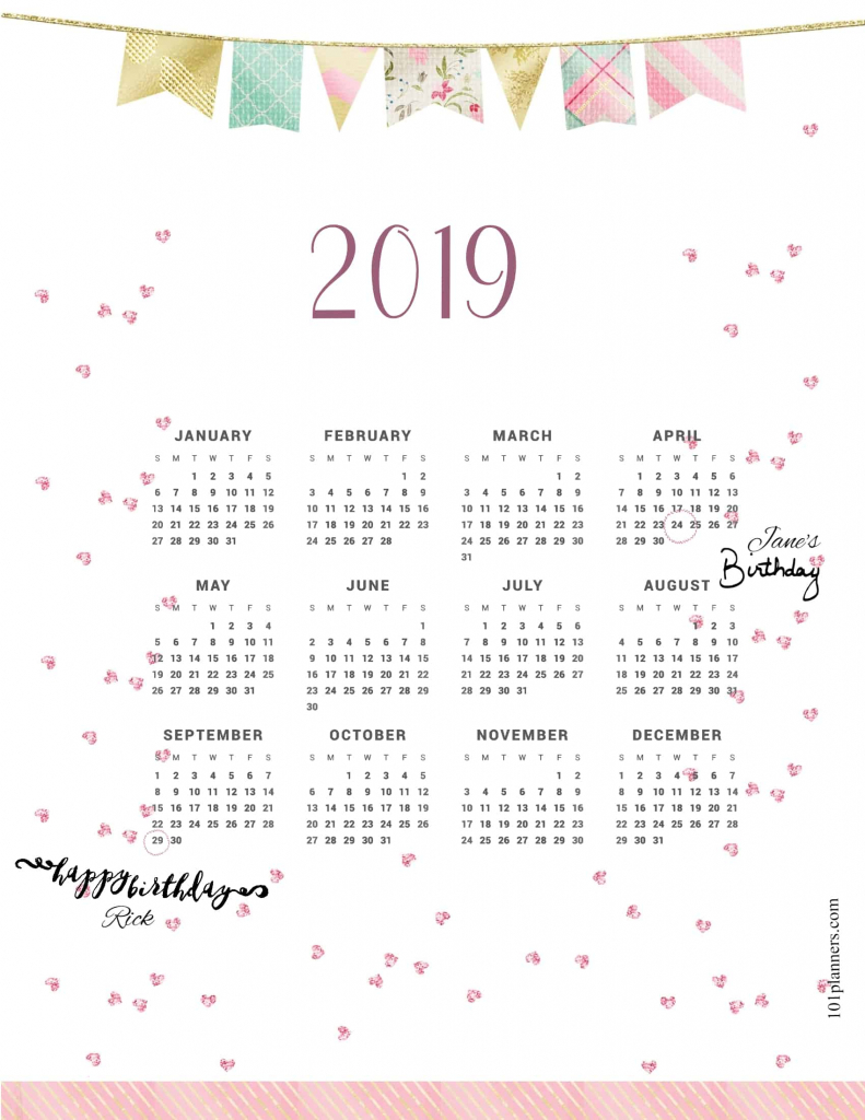 free printable 2019 yearly calendar at a glance 101 mark your calendar christpmas party template