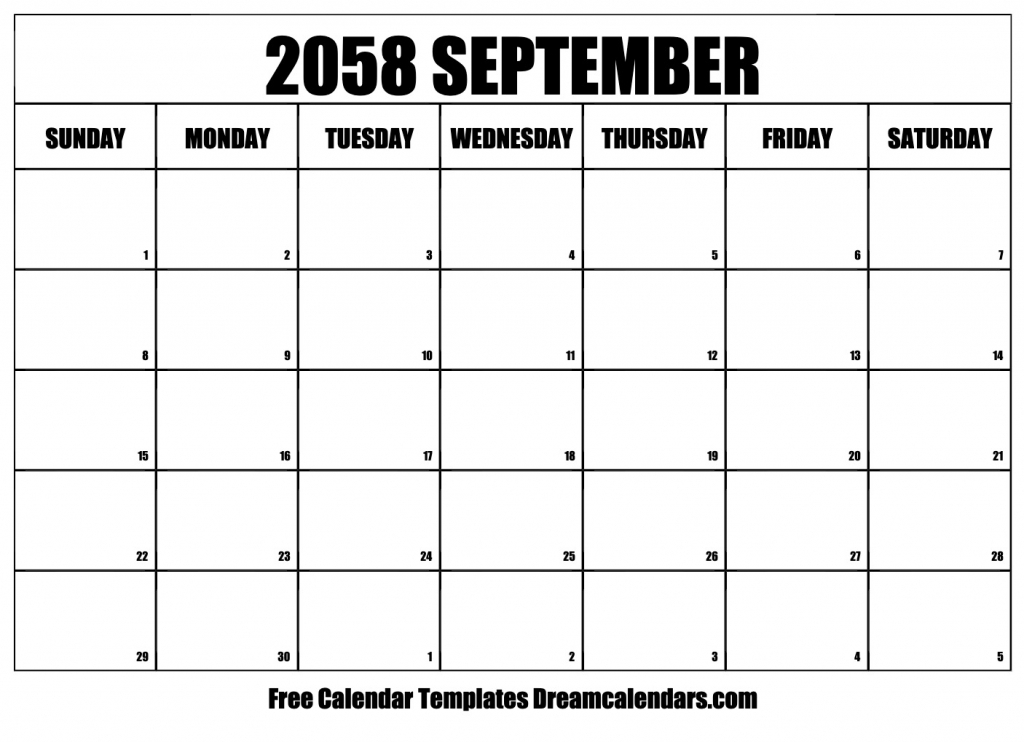 free september 2058 printable calendar dream calendars monthly sunrise sunset printable calendar