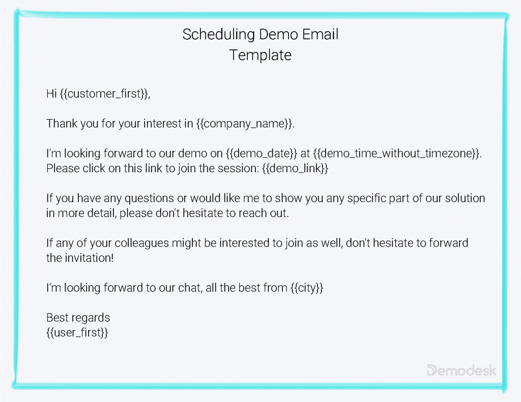 how to automate scheduling of meetings with demodesk show me time schedule with name date time in and out