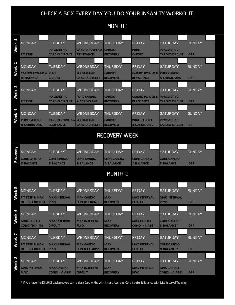 insanity workout calendar workout sheet insanity workout printable p90x3 box calander schedule