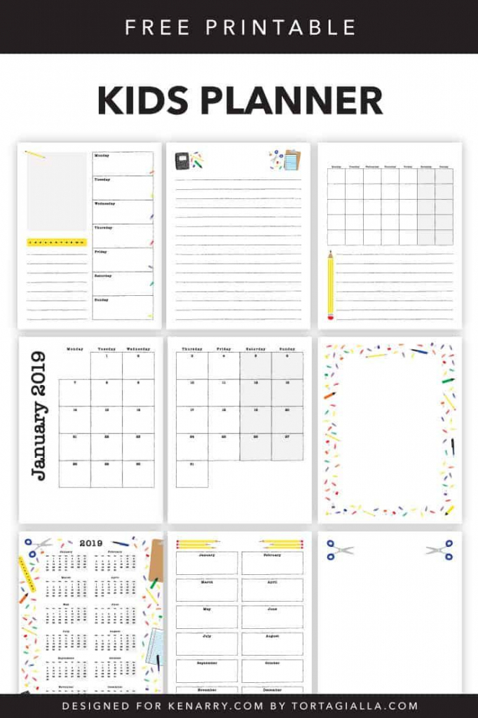 kids planner printables free calendar pages free kids time management calenders