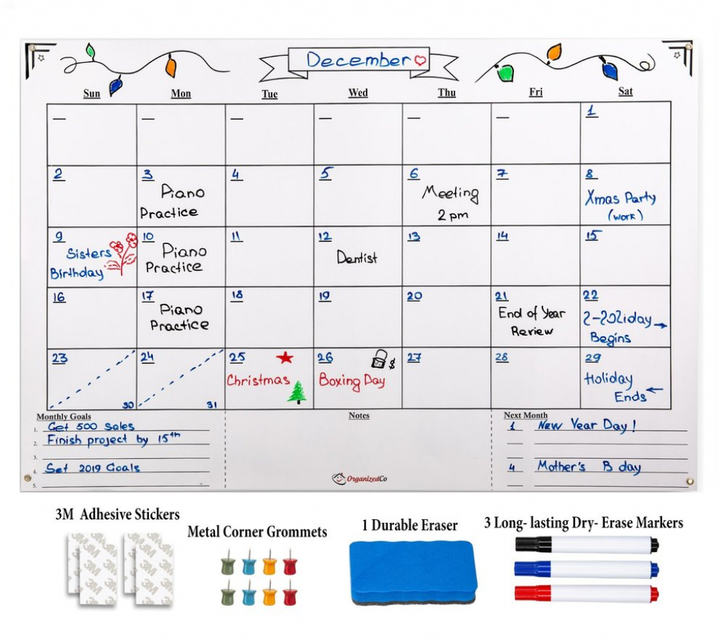 Monthly Calendar Planner Premium Dry Erase Calendar Multiple Month Dry Erase Planner