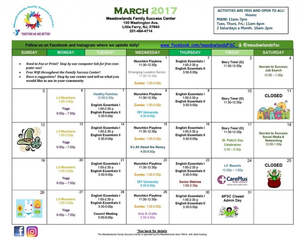 monthly calendars meadowlands family success center meadowlands calendar