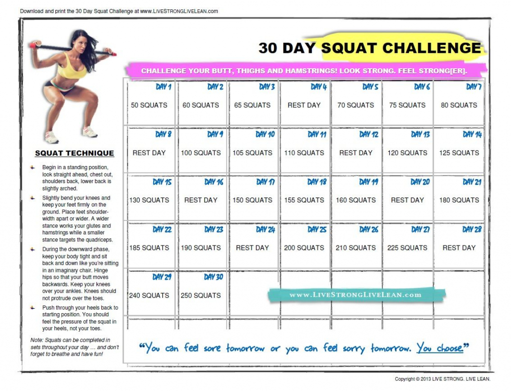 my 30 day squat challenge programme 30 day squat challenge livestrong 30 day squat challenge printable