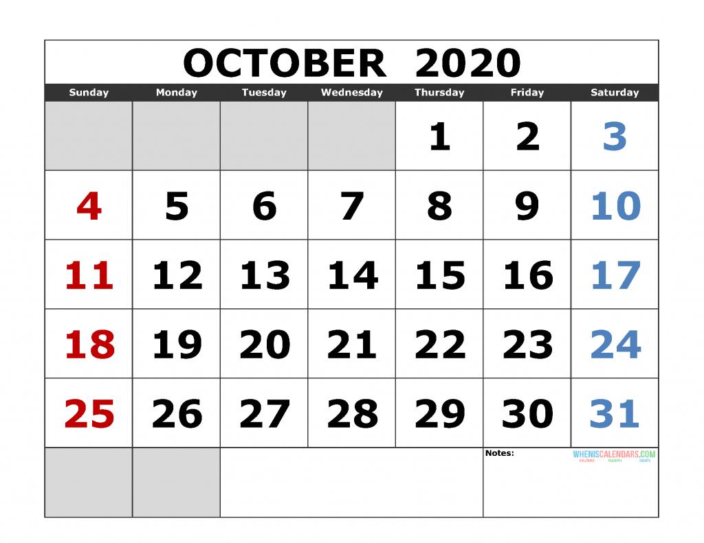 october 2020 printable calendar template excel pdf image printable october 2020 calendar 8 x 11