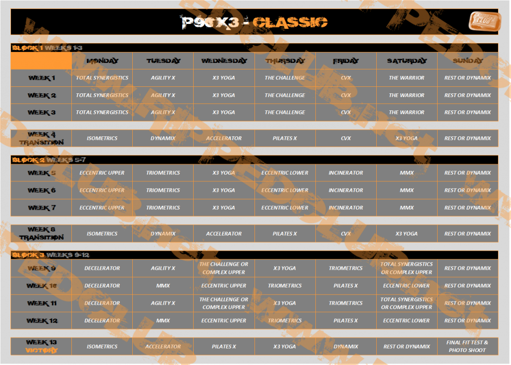 P90x3 Workout Schedule Free Pdf Calendars For All Phases Printable P90x3 Box Calander Schedule