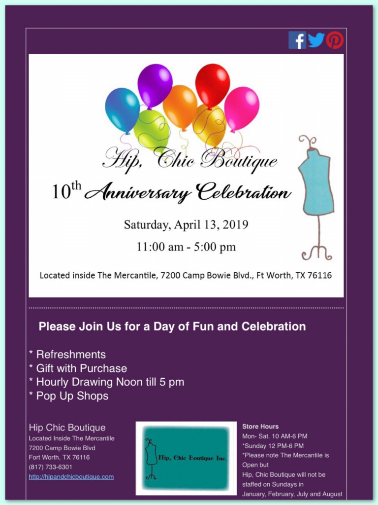please mark your calendars and come celebrate with us calendar for 10years