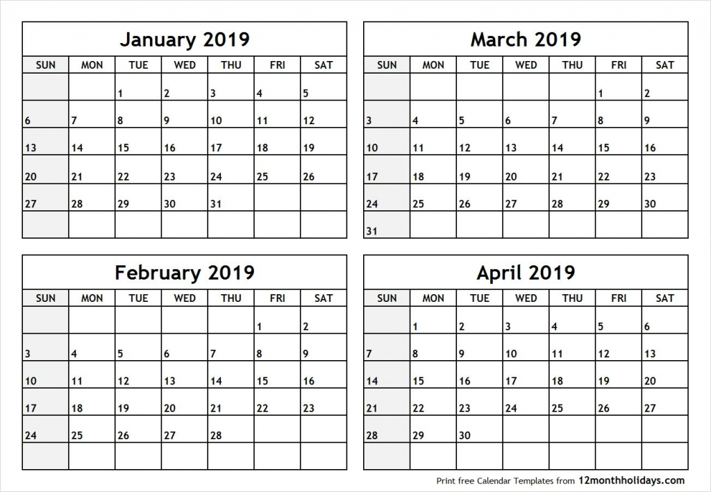 printable blank four month january february march april 2019 printable 4 month calender staring in august