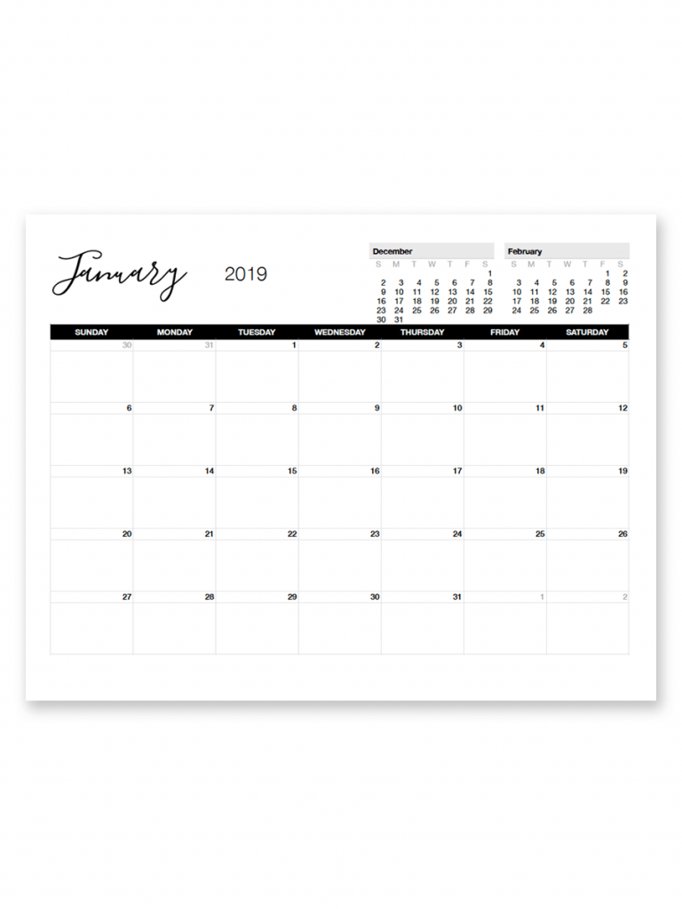 printable january 2019 calendar printables free 8 5x11 printable calendar