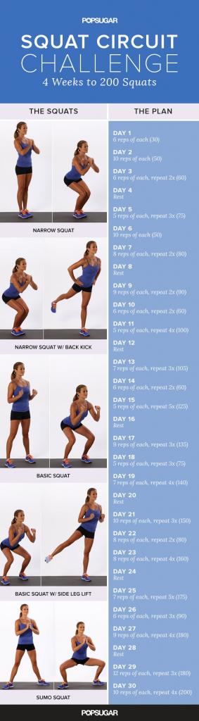 printable squat challenge popsugar fitness squat challenge printout