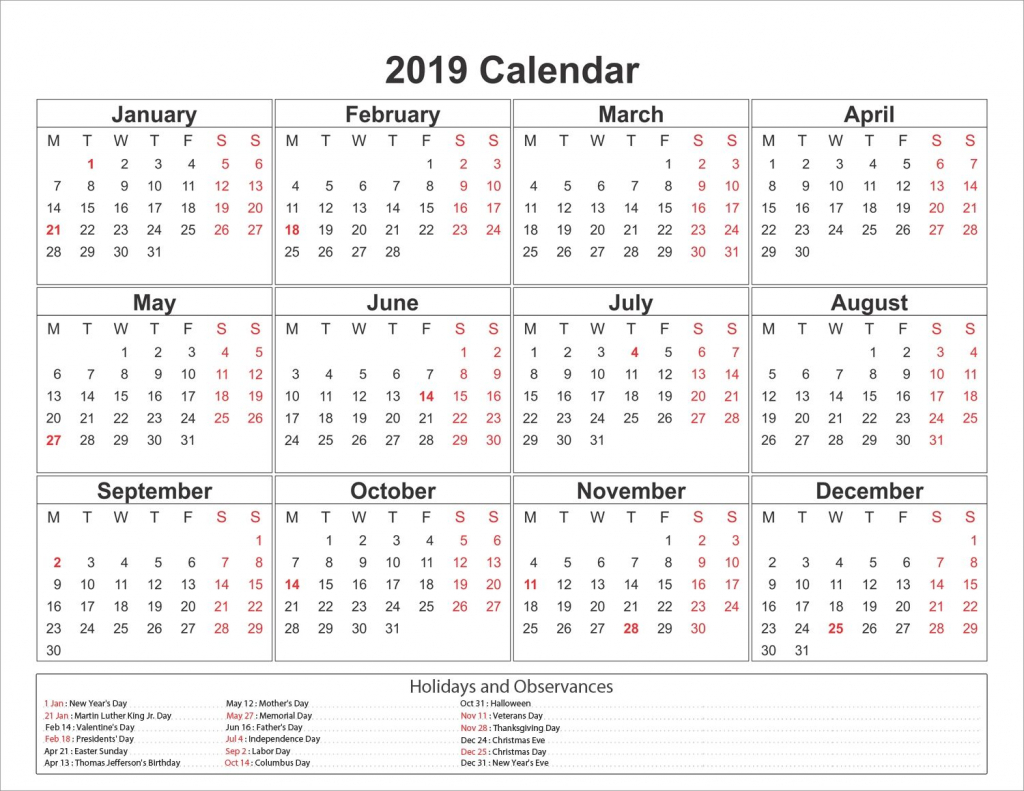 printable yearly printable 2019 calendar pdf template free printable 10 year calendar by month