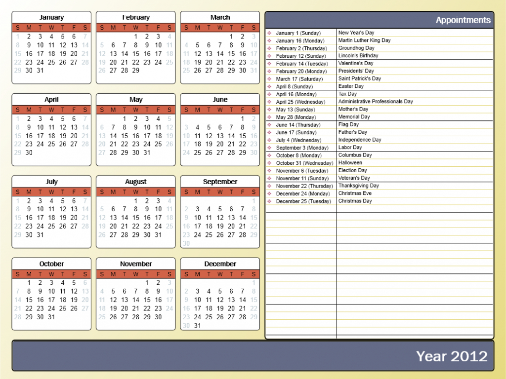printing a yearly calendar with holidays and birthdays 5 year holiday calendar