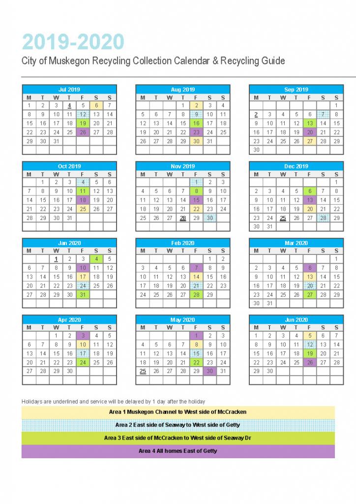 Recycle Muskegon Republic Services Recycling Calendar 2020