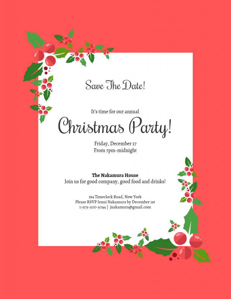save the date christmas party invitation template template mark your calendar christpmas party template
