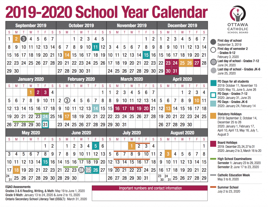 school year calendar from the ocsb daily hours and yearly schedule environmental scientist