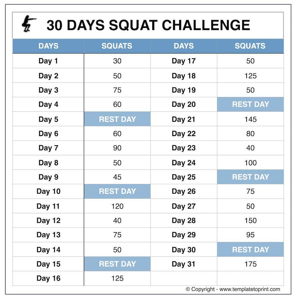 squat challenge chart for beginners printable printable squat callange