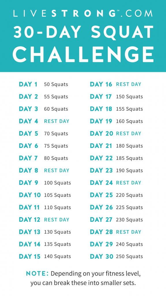 the 30 day squat challenge vzvy a cvienie livestrong 30 day squat challenge printable