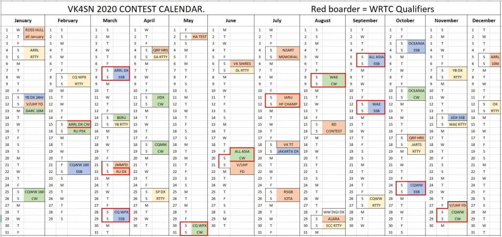 vk4sn contest calendar ham contest calendar 2020
