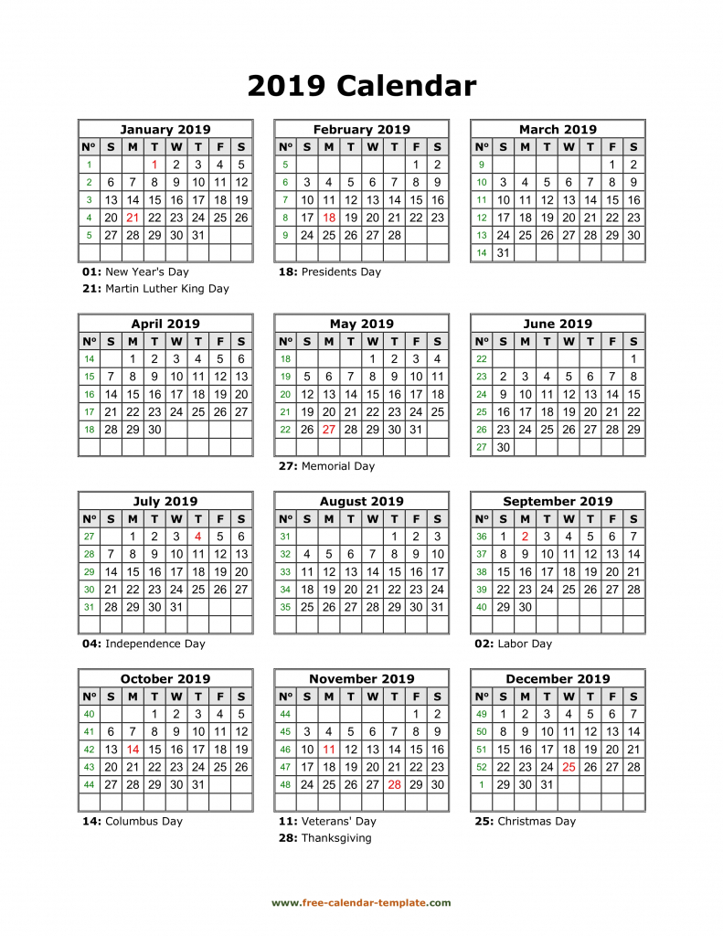 yearly printable calendar 2019 with holidays free calendar free printable 10 year calendar by month