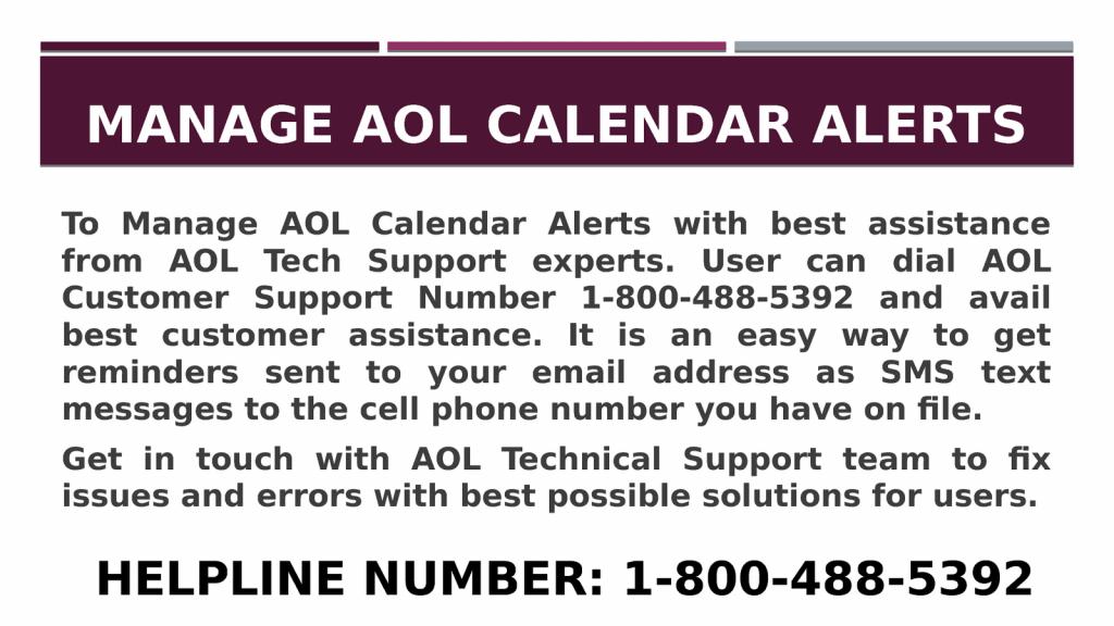 1 800 488 5392 manage aol calendar alerts aol calendar