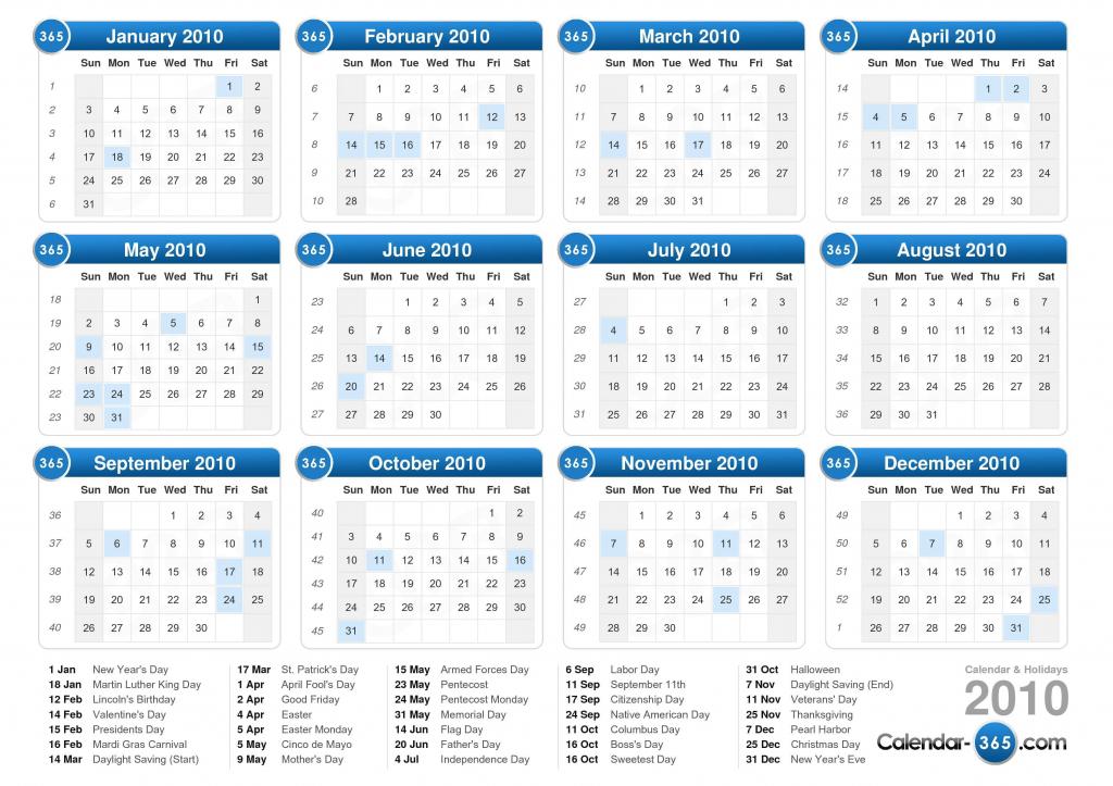 2010 calendar 10 year calendar