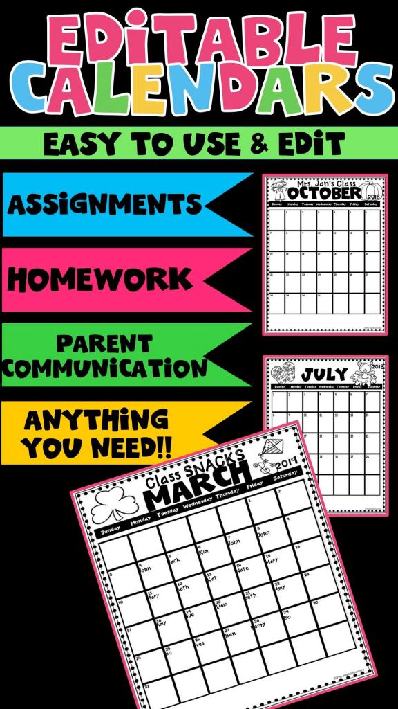 2019 2020 calendar printable editable classroom calendar may 2020 homework calendar first grade
