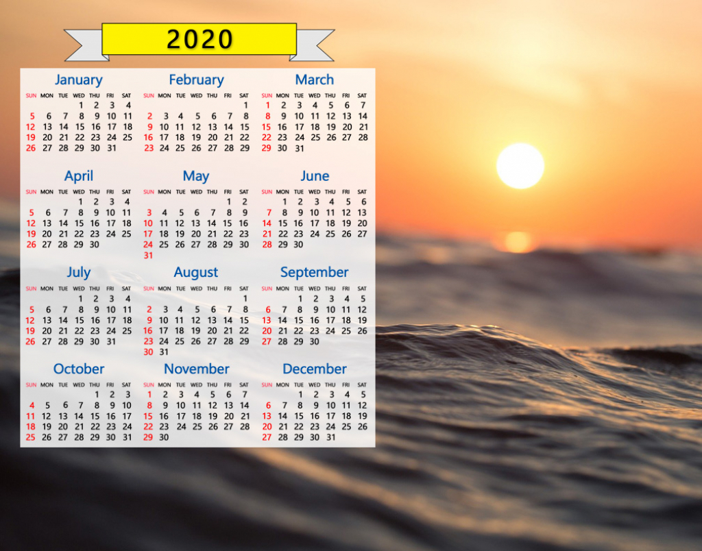 2020 calendar ocean waves seascape sunrise sunset water nature 2020 sunrise sunset monthly calendar