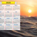 2020 Calendar Ocean Waves Seascape Sunrise Sunset Water Nature Sunrise Sunset Calendar 2020