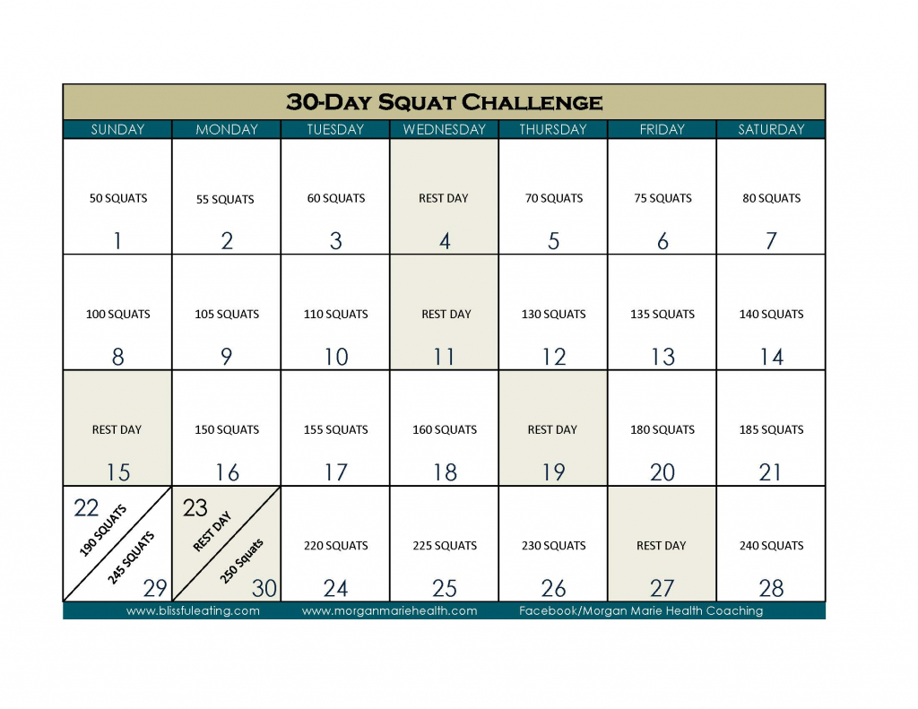 30 day squat challenge blissful eating 30 day squat challenge calendar