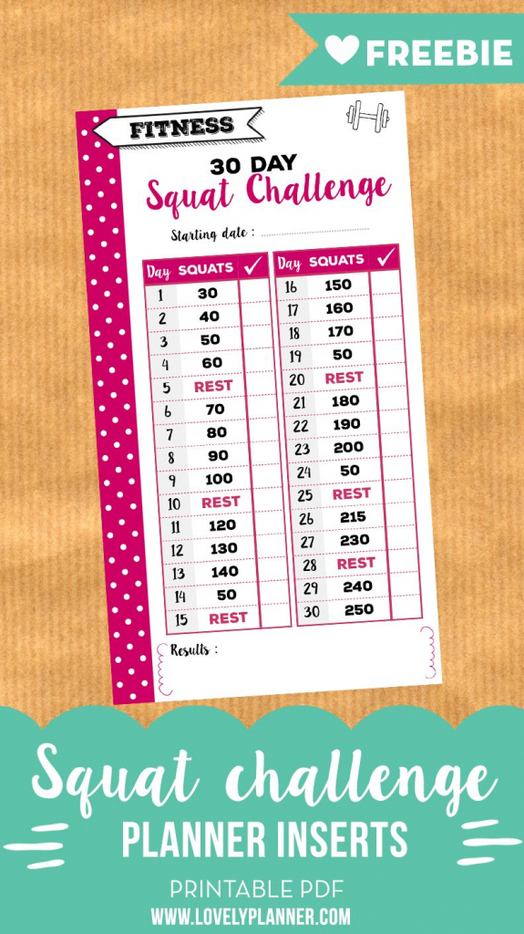 30 day squat challenge free printable insert for personal 30 day squat challenge calendar