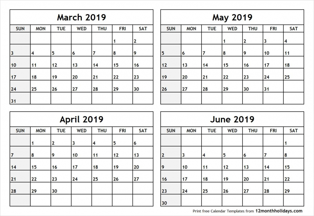 4 month blank calendar 2019 march april may june april may 4 month blank calendar template
