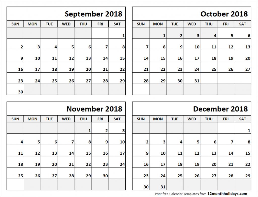 4 month calendar september to december 2018 blank calendar 4 month blank calendar template