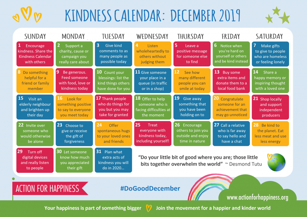 action for happiness november extra hours calendar