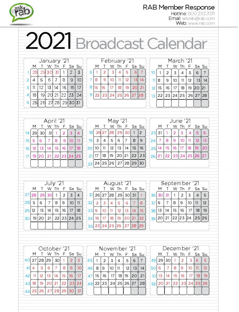 broadcast calendars rab cbs calendar template