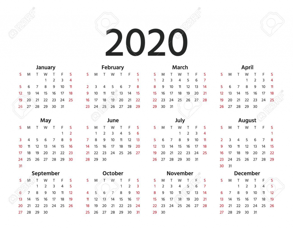 calendar 2020 in simple style vector stationery 2020 year template 10 years calendar
