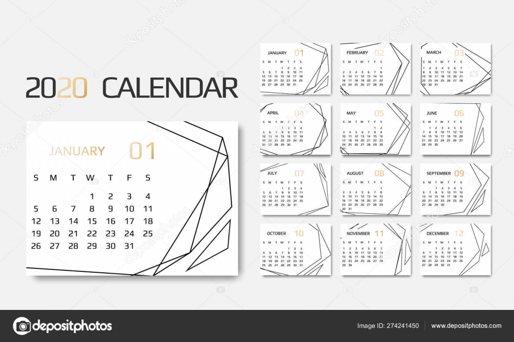calendar 2020 template 12 months design with geometrical calendar with 9 lines