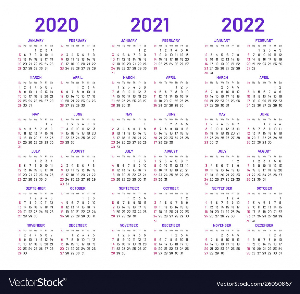 calendar layouts for 2020 2021 2022 years 10 years calendar
