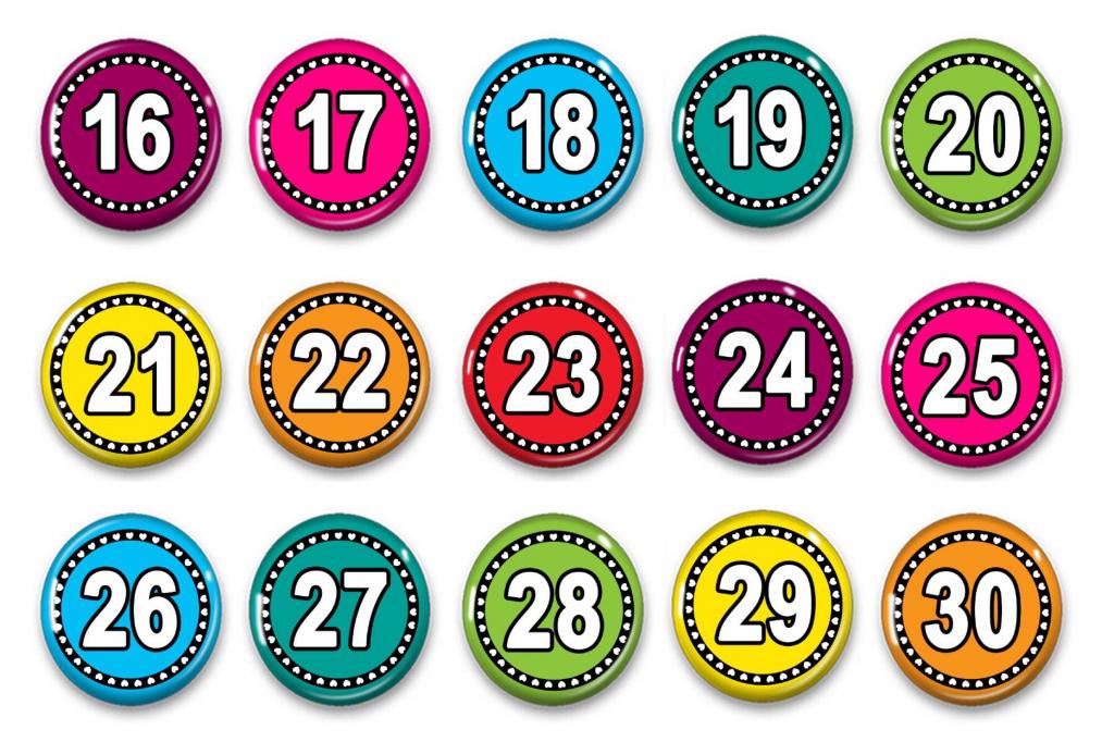 calendar numbers numbers 1 31 attendance numbers www preschoolprintables com calender numbers