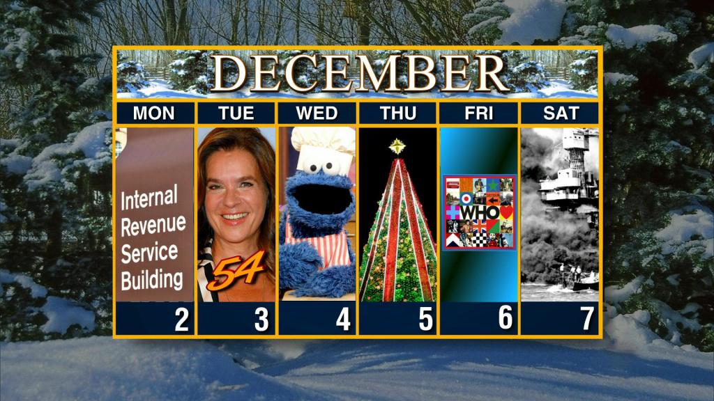 calendar week of december 2 cbs weekly calendar