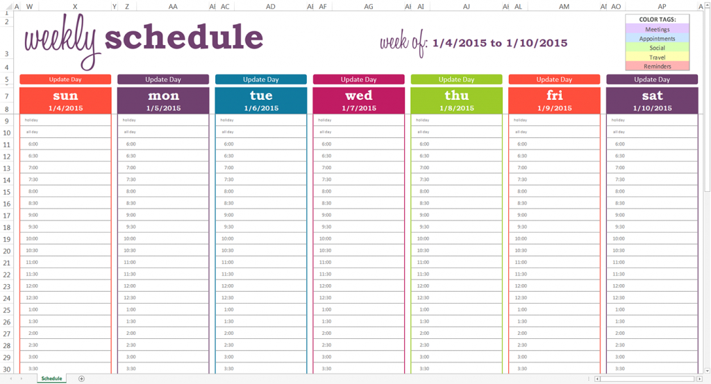 daily planner with time slots template printable june july october 2020 weekly calendar editable half hourly