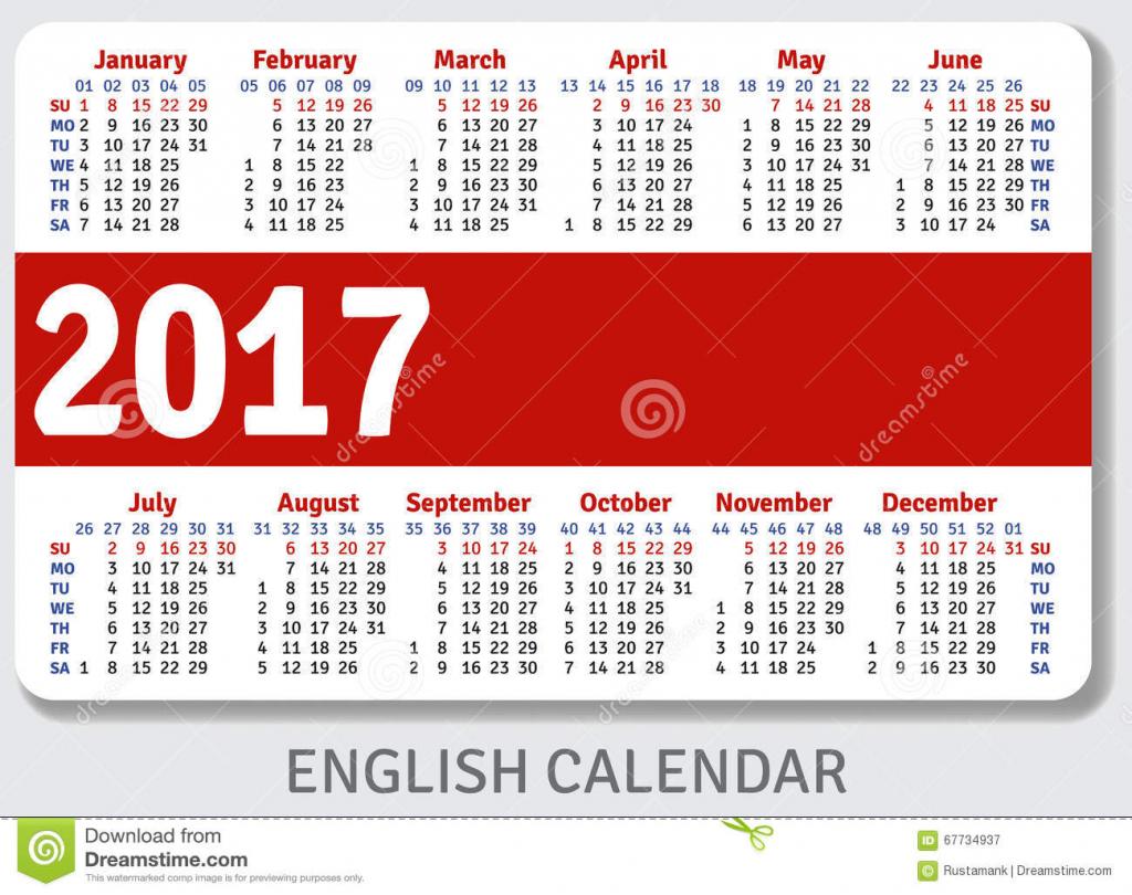 english pocket calendar for 2017 stock vector illustration wallet size calendar template