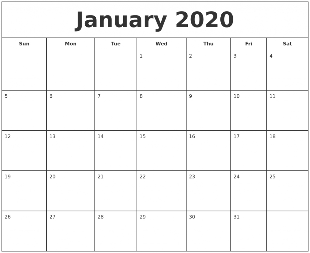free printable january calendar 2020 download in various sizes yahoo free printable calendar 2020 that you can type in
