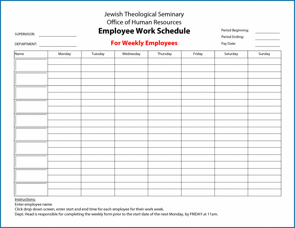 free weekly employee work schedule template templateral calender template that has hours