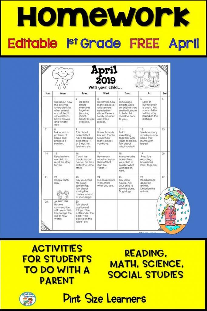 homework calendar april 2019 first grade editable free may 2020 homework calendar first grade