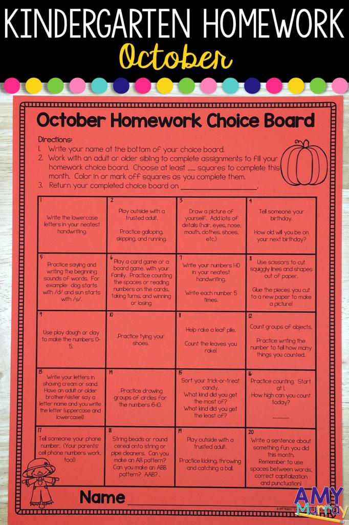 kindergarten homework menu october kindergarten homework may 2020 homework calendar first grade