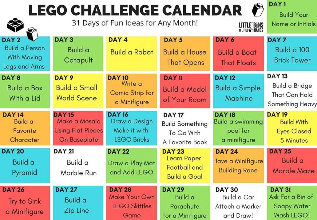 lego challenge calendar ideas for kids in make your own make your own kids calendar free