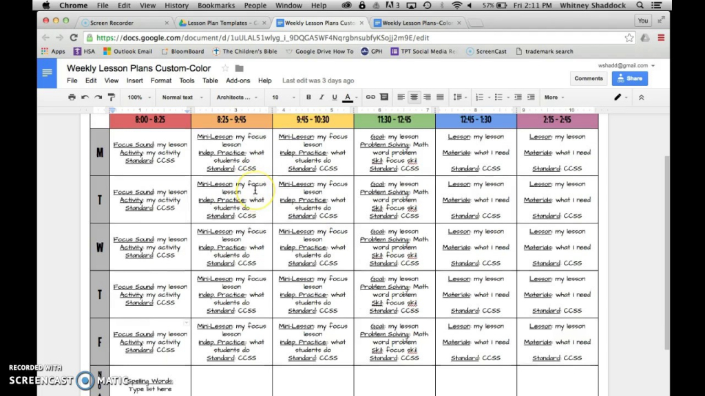 lesson plan templates google drive google lesson plan and calendar template